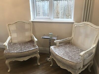 Pair of vintage french Louis XVI style armchairs (part refurbished)