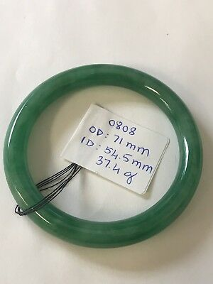 Vintage Translucent Natural Green Jadeite Jade Bangle Bracelet 54MM