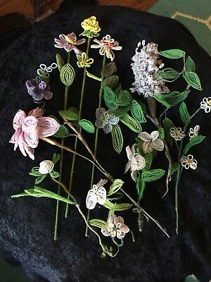 12 Pc Vintage French Beaded Flowers Handmade. Most Were Bought In Metz France