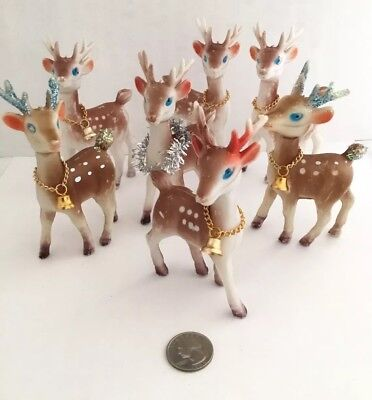 Lot 7 Vintage REINDEER Deer Gold Bells Glitter Christmas Rubber Soft Plastic Doe