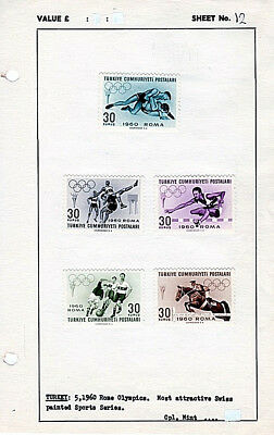 Turkey 1960 Rome Olympics Mint LH Stamps Set of 5 Stamps