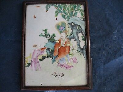 Chinese Hand Painted Porcelain Tile Framed   Chinese Antique?