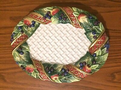 Christmas Small Oval Platter Fitz & Floyd Holiday Swan Pattern 9""