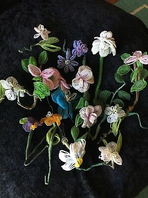 Vintage French  Glass Beaded Flowers