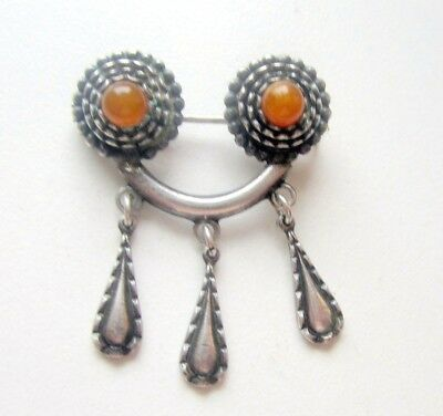 Antique Vintage Ornament Silver Brooch Pin Fibula With Amber And Pendants (3)
