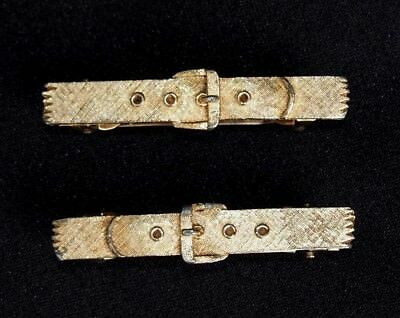 Antique/Vintage Rare French Pair Hair Barrettes Buckle Design Marked Gold Tone