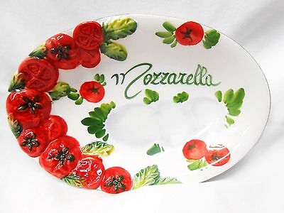 Deruta Pottery-8,1/4x5,1/2 inch Oval Mozzarella-made/painted by hand in Italy
