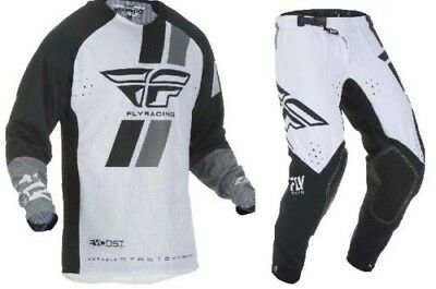 2019 Fly Racing Evo Mens Adult Jersey Pant Combo Black White Motocross Gear MX