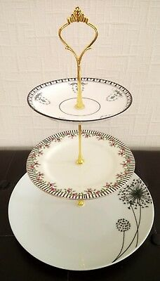 White floral three (3) tier mismatched vintage china cake stand ~ afternoon tea