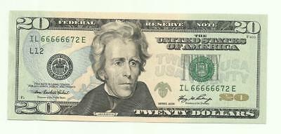 2006 $20 Fancy Serial Number Near Solid IL66666672E CHOICE UNCIRCULATED