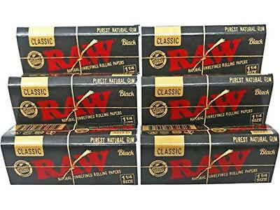 RAW Black 1.25 Size Rolling Papers Authentic Classic 1 1/4 Rolling Papers 3 Pack