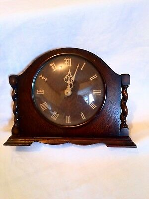 Vintage Smiths Wooden Mantle Clock For Spares Or Repair