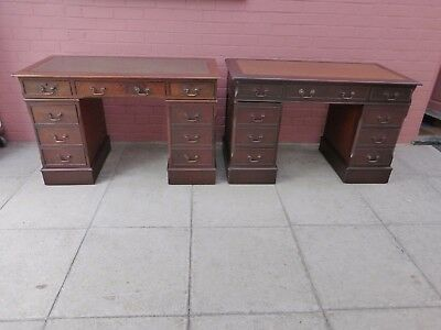A Pair Of Leather inlay Twin Pedestal Knee Hole Desk ***DELIVERY AVAILABLE**