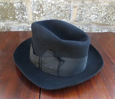 Vintage Black Porcupine Brand Fedora Style Hat- Fancy Dress / Theatre Production