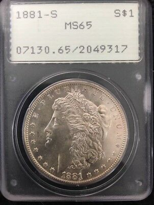 1881-S MOrgan Dollar PCGS MS65 Rattler Holder Rare