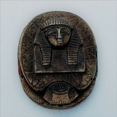 Egyptian Revival Hand Carved Heart Scarab Paperweight with Hieroglyphs.
