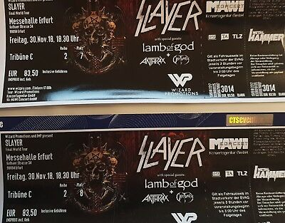 SLAYER 2x TICKETS ERFURT 30.11.18 Tribüne C