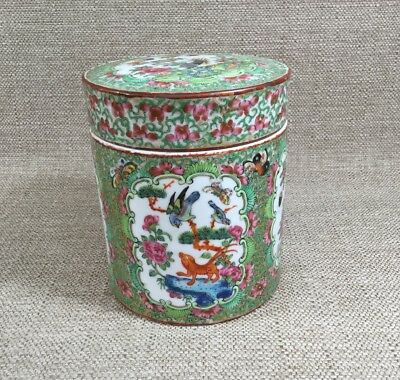 Antique CHINESE EXPORT COVERED TEA CADDY Porcelain ROSE MEDALLION CANTON JAR