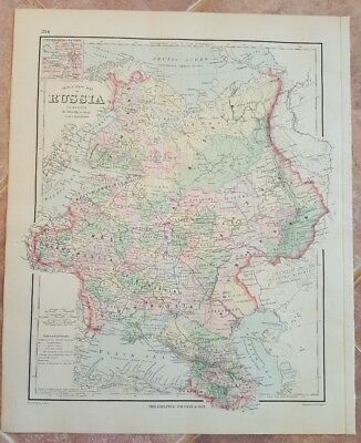 VERY NICE Antique Colored MAP/GRAY'S - RUSSIA - The National Atlas 1893
