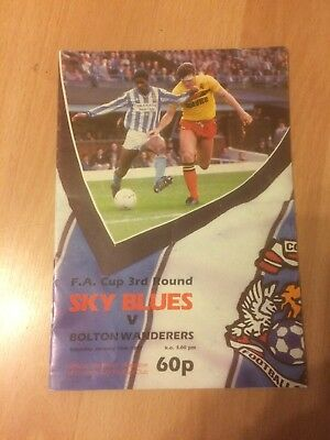 Coventry City V Bolton Wanderers Fa Cup 3 Rd Rd 86/7