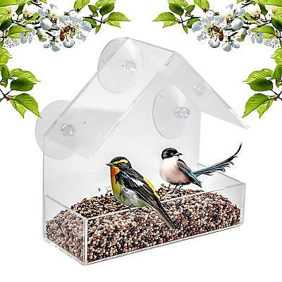 Window Bird Feeder Glass Hanging Mounted Acrylic Tray Station With Suction Cups