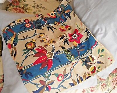 Vintage BARK CLOTH Print Cotton Floral Pillow Cover w/ Embroidered Back