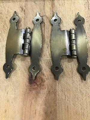 """Vintage Brass Look Colonial H Style HINGES for 3/8"""" Offset Cabinet Doors New"""