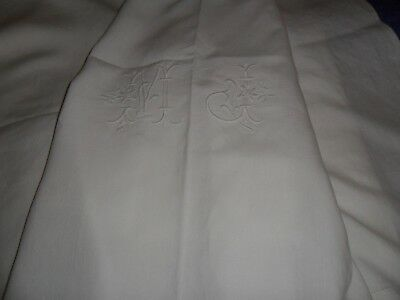 """Antique French long linen sheet.Hand made monogramm """"M.J"""" decorated flowers."""