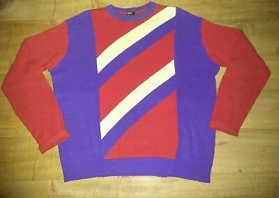 Rare Vintage 60s Sears Ted Williams Mens Red White Blue Striped Sweater Sz XL
