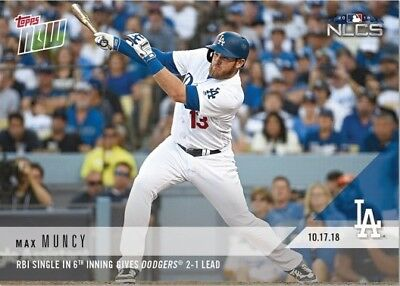 2018 Topps NOW MLB 902 Max Muncy RBI Single in 6th Inning Gives Dodgers 2-1 Lead
