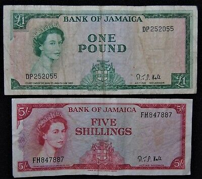 1960 Jamaica - Set Of 2 Notes - One Pound & Five Shillings - Fine