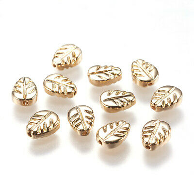 10PCS Alloy Beads Leaf Shape Real Gold-Filled 5x7mm Jewellery Craft Leaves Bead