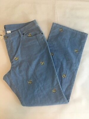 J. Crew Size 14 Women s Corduroy Pants Powder Blue Embroidered Terrier Dogs  NWT 9d8df0b3f3