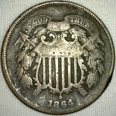 1864 US Shield 2 Cents Type Coin Bronze Two Cent Coin YG You Grade  K4