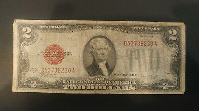 1928 F series $2 DOLLARS UNITED STATES NOTE RED SEAL BANKNOTE - D53736230A