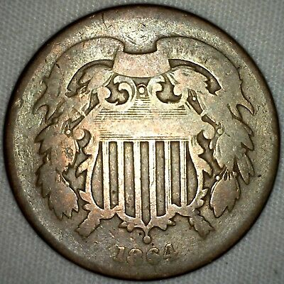 1864 US Shield 2 Cents Type Coin Bronze Two Cent Coin Good Grade  K11