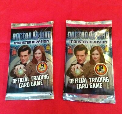 DOCTOR WHO Monster Invasion Official Trading Cards 2X Packs New Sealed 18 Cards