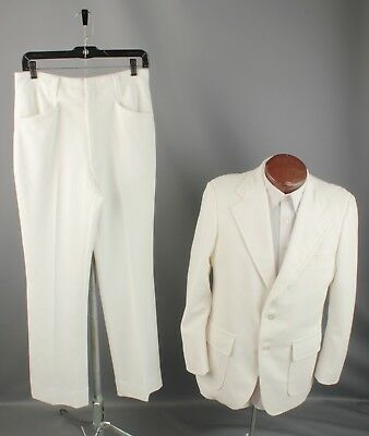 Vtg Men's 1970s White Polyester Leisure Suit Jacket 40 Pants 29x30 70s #5761