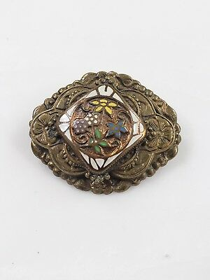 "Antique Vintage Brass Floral Art Deco Pin Brooch 1.25"" Tall"