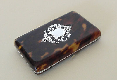 Antique Victorian Faux Tortoiseshell & Sterling Card Case, 19th Century