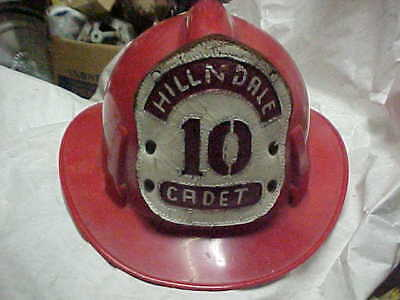 Vintage Red Cadet Fire Helmet - Hat Hillndale With Leather Insignia