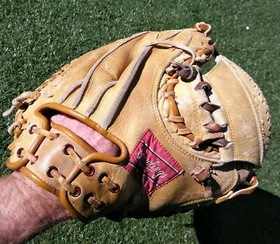 Old vintage mlb Rawlings Johnny Bench Catchers Mitt MJ77 Pro Baseball Glove hof