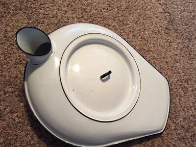Vintage Antique Porcelain Enamel Bed Pan Complete with Cover, Great condition