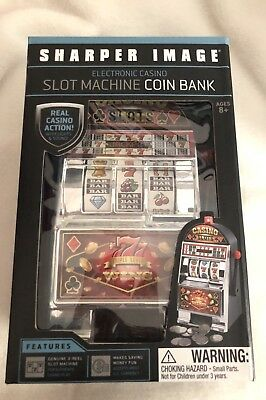 Brand New Sharper Image Electronic Casino Slot Machine Coin Bank Free Shipping