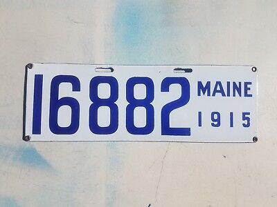 1915 Maine License Plate Porcelain VG to NM condition