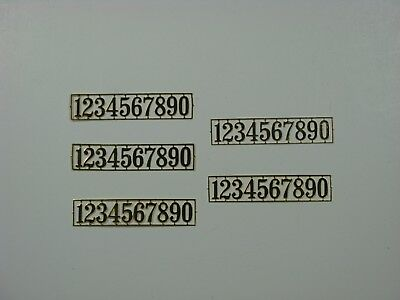 Dollhouse Miniature Brass House Numbers - 5 Pieces - 1:12 Scale - Metal