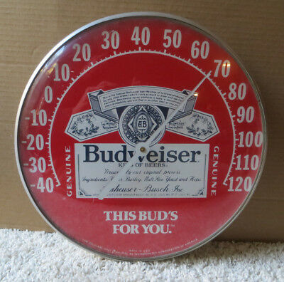 1980's BUDWEISER ROUND BUBBLE GLASS THERMOMETER