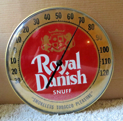 Vintage Royal Danish Snuff Round Bubble Glass Thermometer
