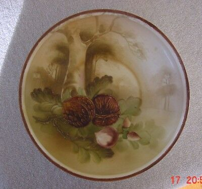 """ANTIQUE NIPPON HAND PAINTED 8 3/4"""" BOWL NUTS and TREES with GREEN MARK"""