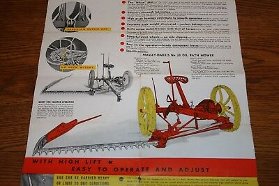 Massey Harris No 33 Oil Bath Mower Advertising Sales Brochure Poster Colorful